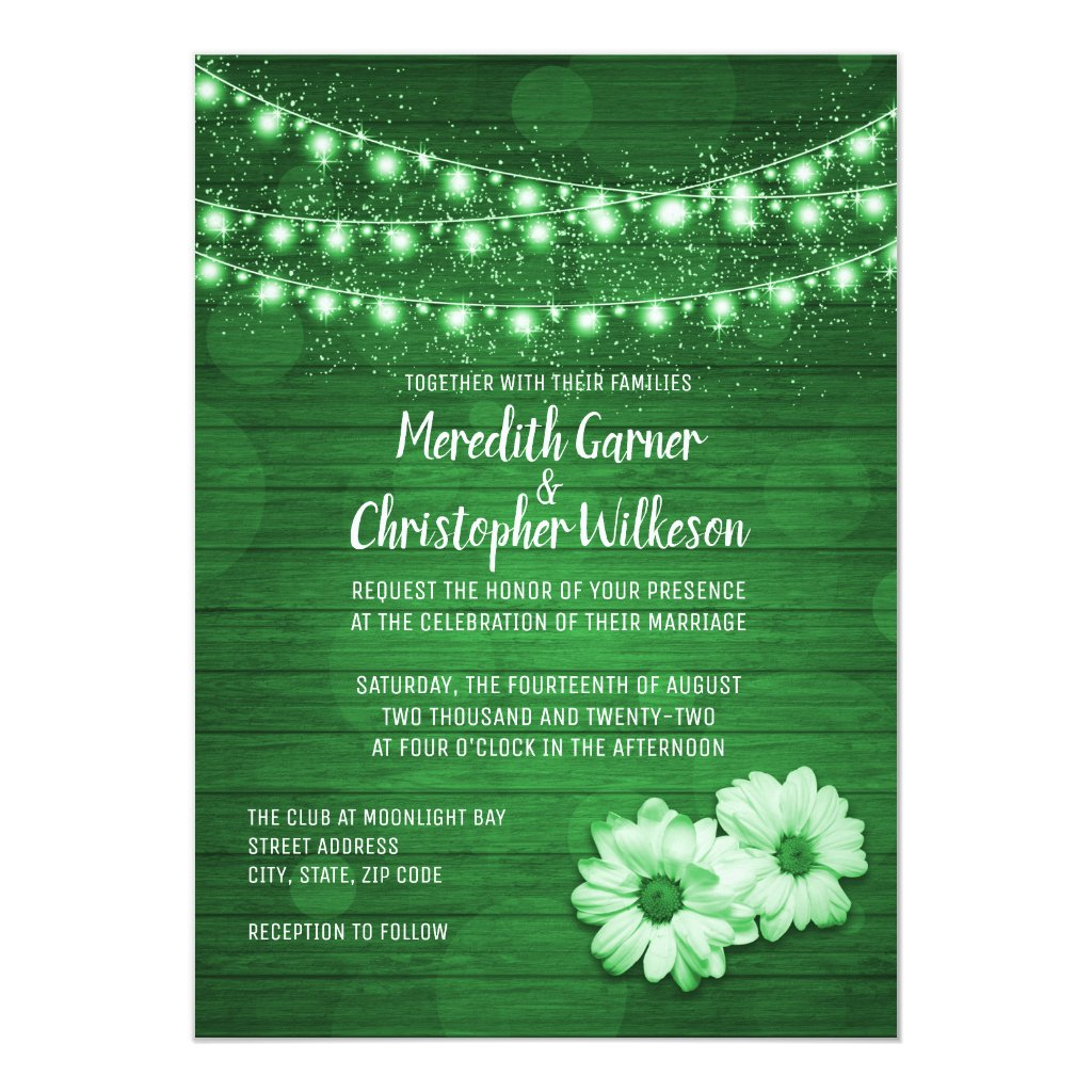 Green Rustic Twinkle Lights Wood Daisy Wedding Card