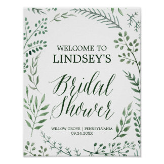 Green Rustic Wreath Bridal Shower Welcome Poster