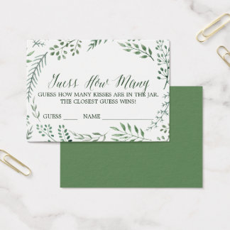 Green Rustic Wreath Guess How Many Kisses Cards