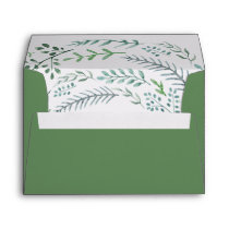 Green Rustic Wreath Lined Wedding Invitation Envelope