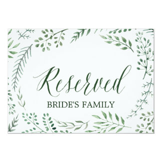 """Green Rustic Wreath Wedding """"Reserved"""" Sign Card"""