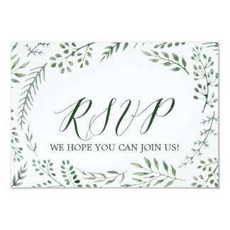 Green Rustic Wreath Wedding Website RSVP Card