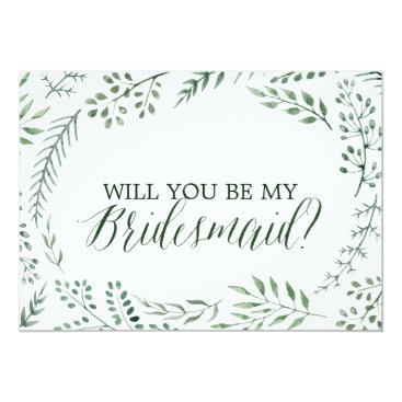 FreshAndYummy Green Rustic Wreath Will You Be My Bridesmaid Card