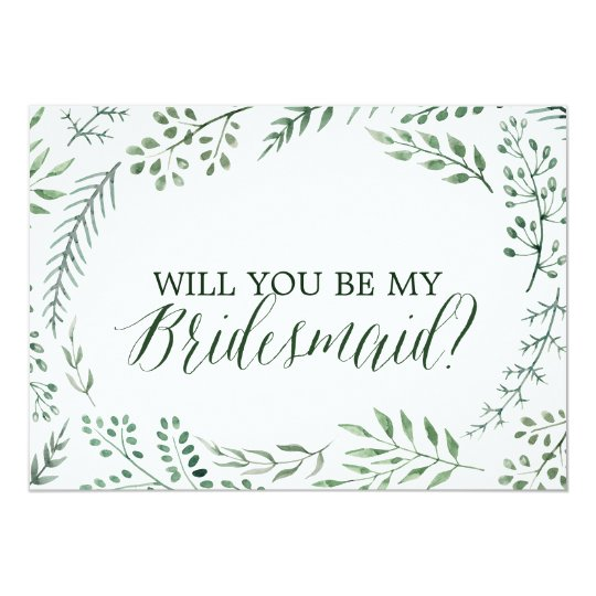 Green Rustic Wreath Will You Be My Bridesmaid Card Zazzlecom