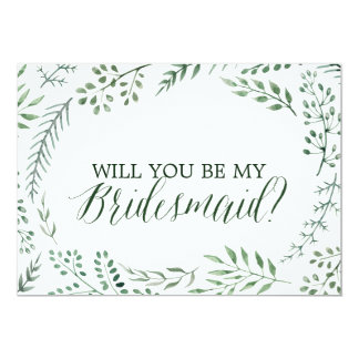 Green Rustic Wreath Will You Be My Bridesmaid Invitation