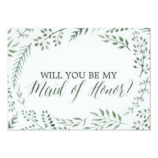 Green Rustic Wreath Will You Be My Maid of Honor Invitation