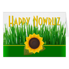 Green Sabzeh Sunflower Iranian New Year Nowruz Card