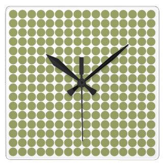 Green Safari Dot Square Wall Clock