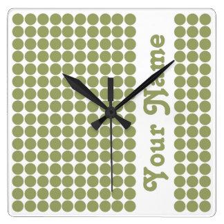 Green Safari Dot with name Square Wall Clock