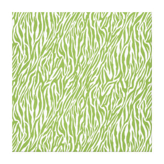 Green Safari Zebra Print Gallery Wrap Canvas
