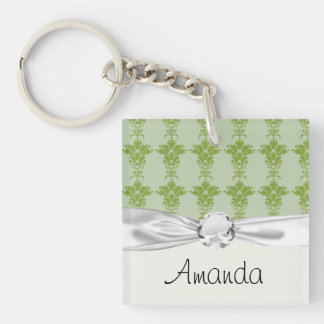 green sage and olive ornate damask pattern keychain