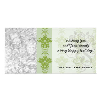 green sage and olive ornate damask pattern picture card