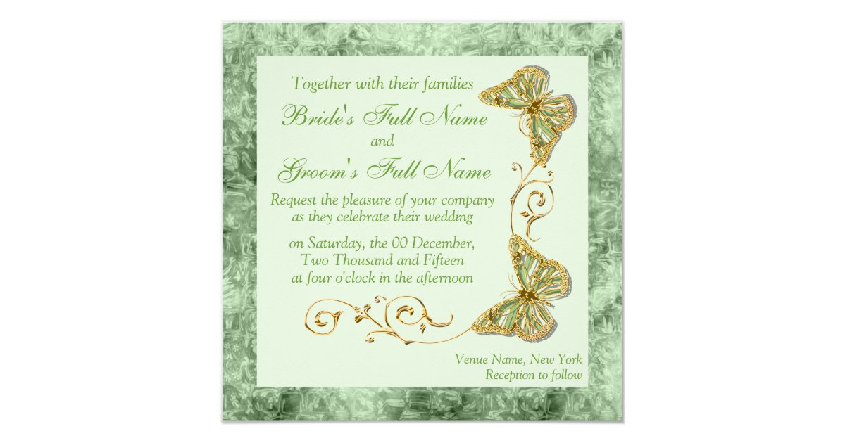 Green Sage Gold Country Wedding Card