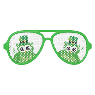 Green Saint St Patricks Day party shades with owl