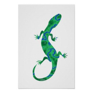 Green salamanquesa posters