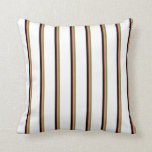 [ Thumbnail: Green, Salmon, Black, and White Striped Pattern Throw Pillow ]