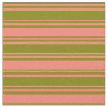 [ Thumbnail: Green & Salmon Lines Fabric ]