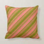 [ Thumbnail: Green & Salmon Lines Throw Pillow ]