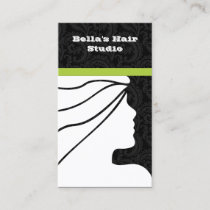 Green Salon business cards with appointment on bac
