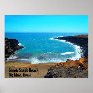Green Sands Beach big island Hawaii poster