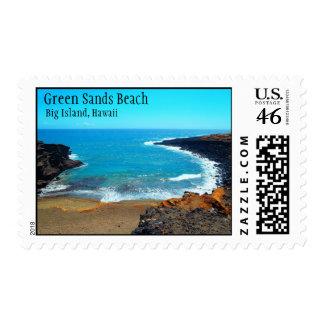 Green Sands Beach big island Hawaii stamps