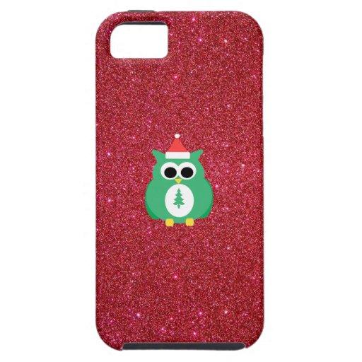 Green santa owl red glitter iPhone 5 covers