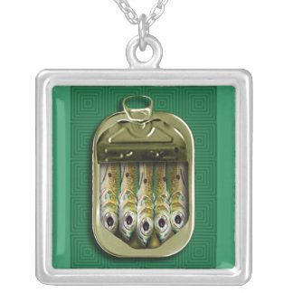 Green Sardines Silver Plated Necklace