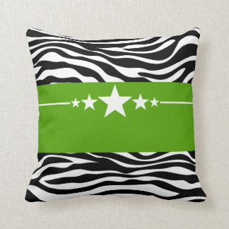 Green Sassy Star Zebra Pillow