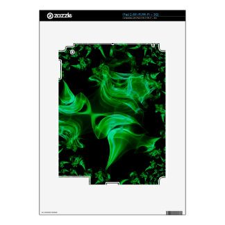 Green Satin fractal Decals For iPad 2