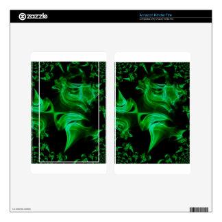 Green Satin fractal Kindle Fire Skins