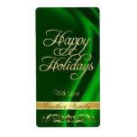 Green Satin Gold Scroll Happy Holidays Wine Label