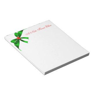 Green Satin Ribbon Memo Note Pad
