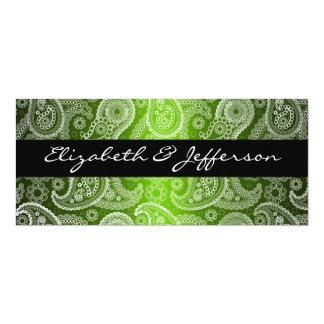 Green Satin White Paisley Lace Wedding Invitation