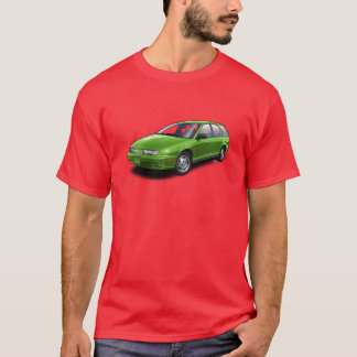 Green Saturn SW2 on red t-shirt