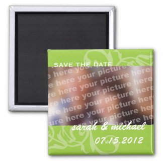 Green save the date wedding announcement photo refrigerator magnet