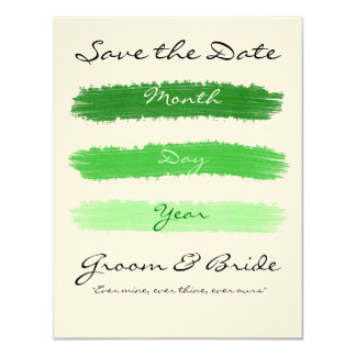 "Green Saved the Date 4.25"" X 5.5"" Invitation Card"