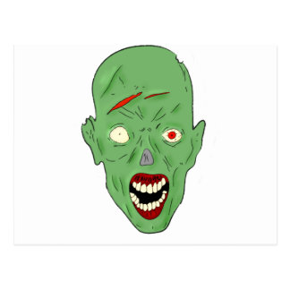 Green scarred zombie postcard
