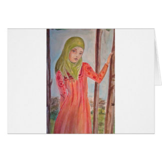 Green scarved girl, wild trees Muslim woman Cards