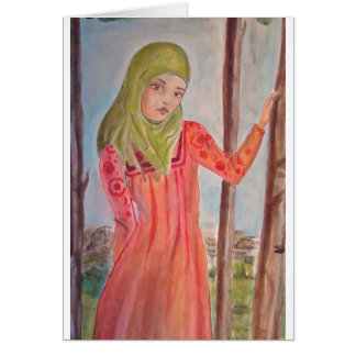 Green scarved girl, wild trees Muslim woman Greeting Cards