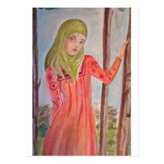 Green scarved girl, wild trees Muslim woman