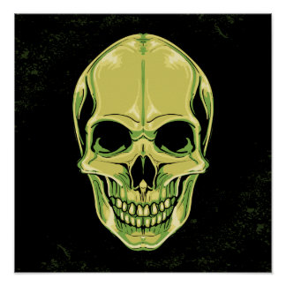 Green Scary Grinning Skull On Grunge Background Poster