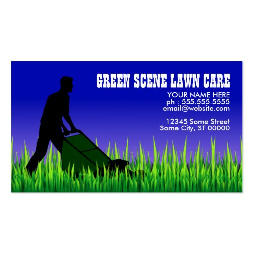 Green scene lawn care business cards for Mowing business cards