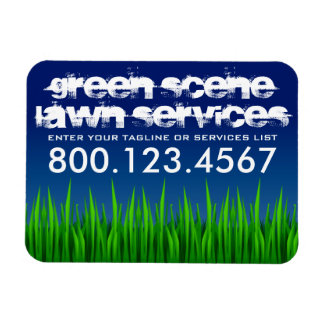 green scene lawn services rectangle magnet