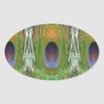GREEN Scene - Peacock Feather Collection Oval Stickers