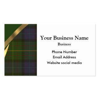 Green Scottish tartan plaid pattern Business Cards