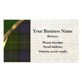 Green Scottish tartan plaid pattern Business Card