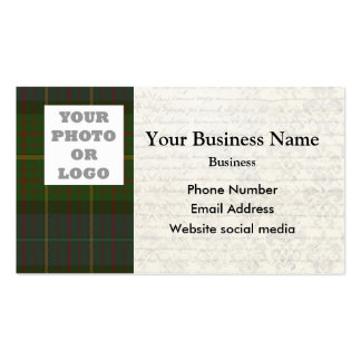 Green Scottish tartan plaid photo template Double-Sided Standard Business Cards (Pack Of 100)