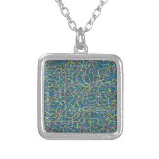Green scribbled lines pattern silver plated necklace