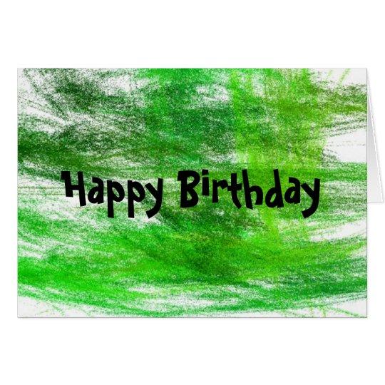 Green Scribbles Happy Birthday Card