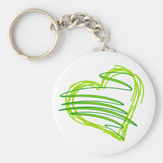 Green scribbly heart 2 keychain